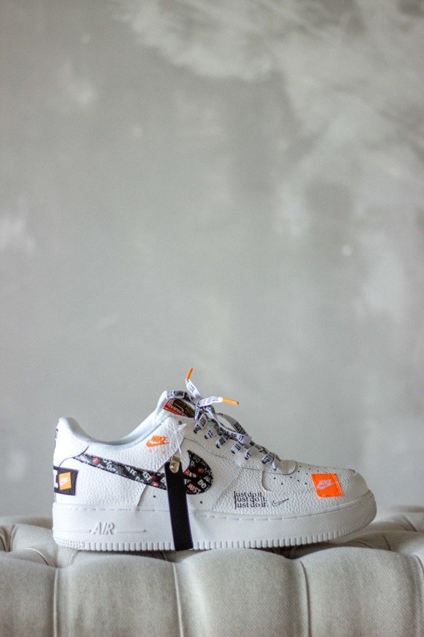 "Кроссовки женские Nike Air Force 1 Low ""Just Do It"" White (найк аир форс джаст ду ит белые)"