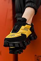Кроссовки женские Prada Cloudbust Thunder Black/Yellow (прада клаудбуст тандер)