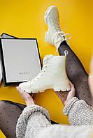 Ботинки женские Gucci High Leather White (гуччи высокие кожаные белые)