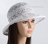 Белая летняя женская шляпа из льна с кружевом размер 56-58, фото 2