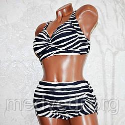 Большой 60 размер женский раздельный черно-белый купальник полосатый, для пышных женщин