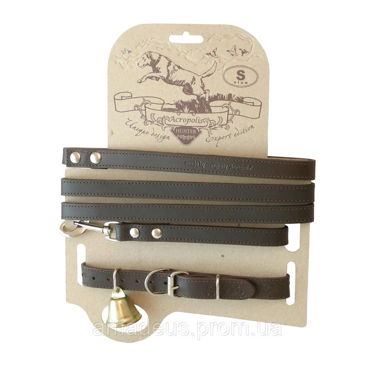 Кожаный ошейник с поводком для охотничьих собак СКО-1