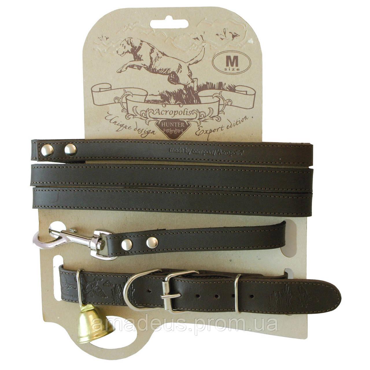 Кожаный ошейник с поводком для охотничьих собак СКО-2