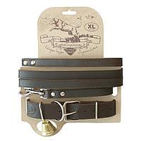 Кожаный ошейник с поводком для охотничьих собак СКО-3