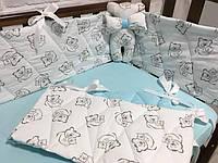 Защита в детскую кроватку с простынкой. Простынка на резинке в подарок. Бесплатная доставка.