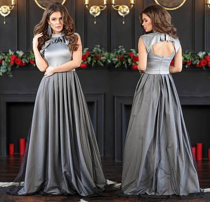 """Женское вечернее длинное платье 333 """"Шёлк Пелеринка Сетка"""" в расцветках"""