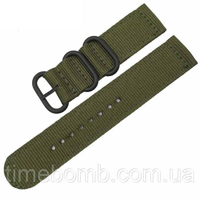 Зеленый нейлоновый ремешок для часов с черной пряжкой