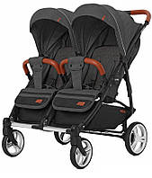 Детская прогулочная коляска для двойни Carrello Connect (темно-серый цвет)