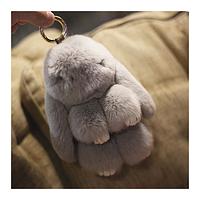 Брелок на сумку рюкзак Меховой брелок Кролик цвет Серый 16см
