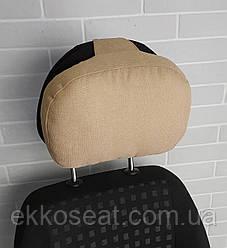 Подушка на подголовник в авто EKKOSEAT. Объемно-каркасная. Бежевая.