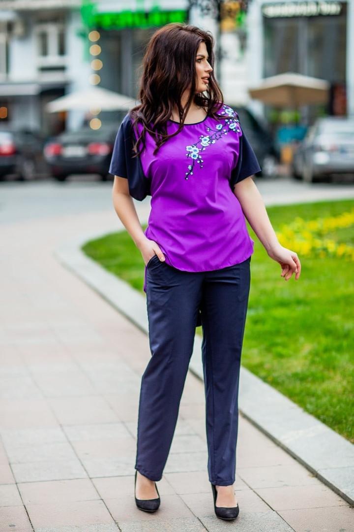 Женский костюм блузка с брюками большие размеры