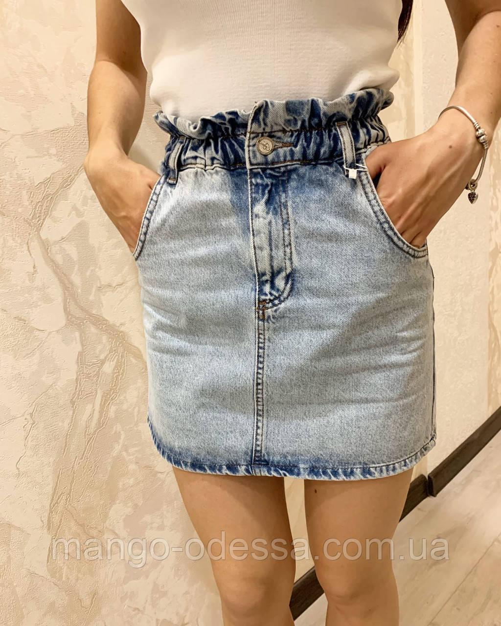Стильная джинсовая юбка на резинке Размеры: 34,36,38,40,42