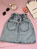 Стильная джинсовая юбка на резинке Размеры: 34,36,38,40,42, фото 3