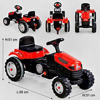 Детский карт педальный красный трактор pilson  велокарт веломобиль с педалями для мальчика и девочки
