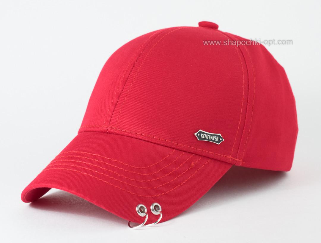 Бейсболка хлопковая Пирсинг с кольцами на козырьке цвет красный 56-58