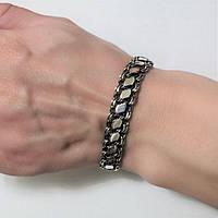 Срібний чоловічий браслет Бісмарк з чорнінням 21.5 см, фото 1