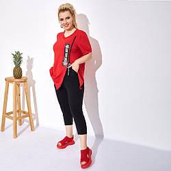 Жіночий літній спортивний костюм футболка+джоггеры великі розміри 48-60