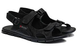 Чоловічі сандалі+шльопанці з натуральної шкіри Black Ecco р. 46 47 48 49 50