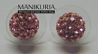 Серьги шамбала розовые с сваровскими камнями большие