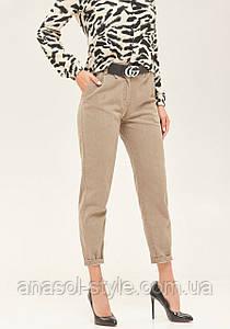 Женские джинсы слоучи высокая посадка укороченные капучино