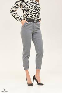 Женские джинсы слоучи высокая посадка укороченные серые