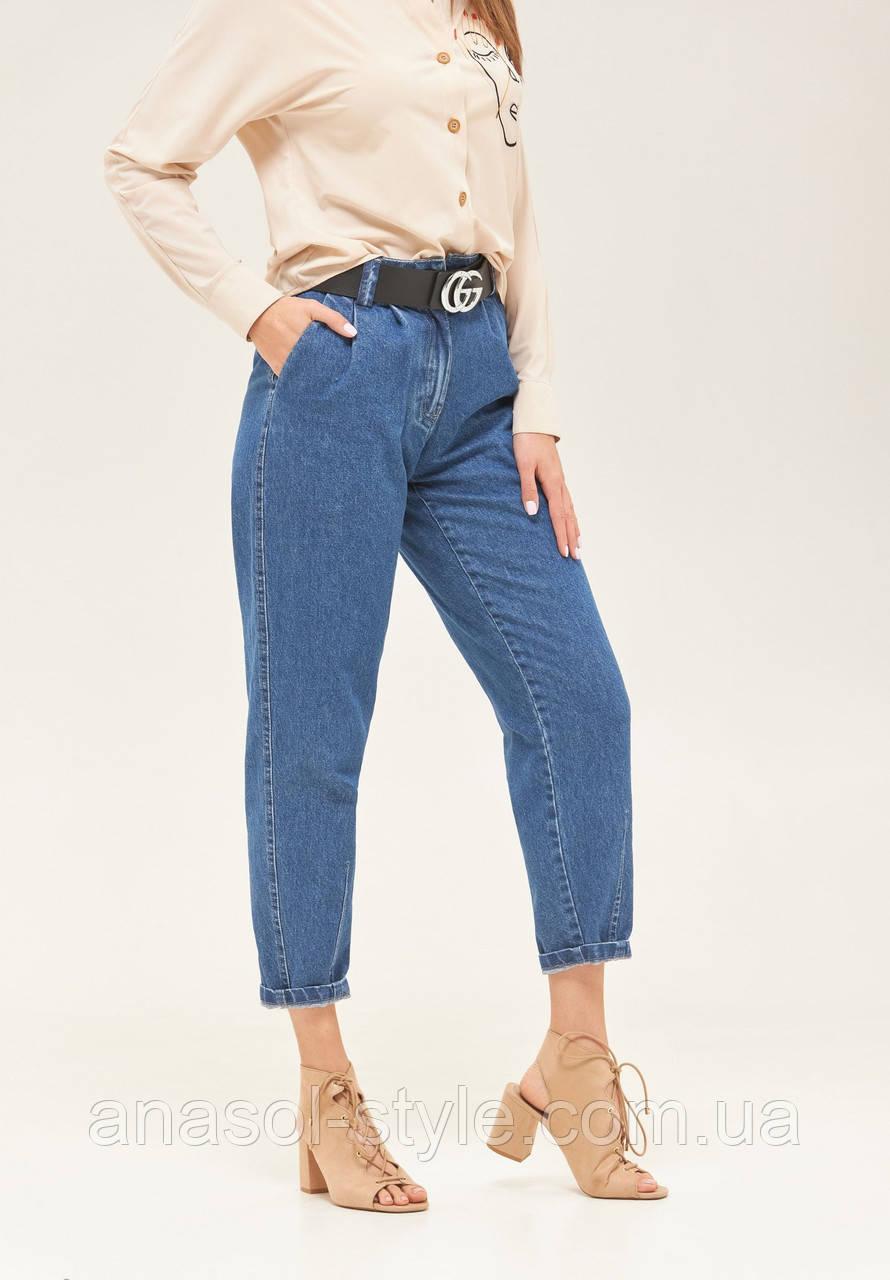 Женские джинсы слоучи высокая посадка укороченные голубые