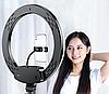 Лампа лед кольцевая светодиодная с пультом  диаметр 33 см + металлический штатив 200 см для визажиста блоггера, фото 3