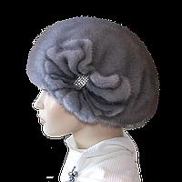 Зимняя норковая женская шапка цвет сапфир