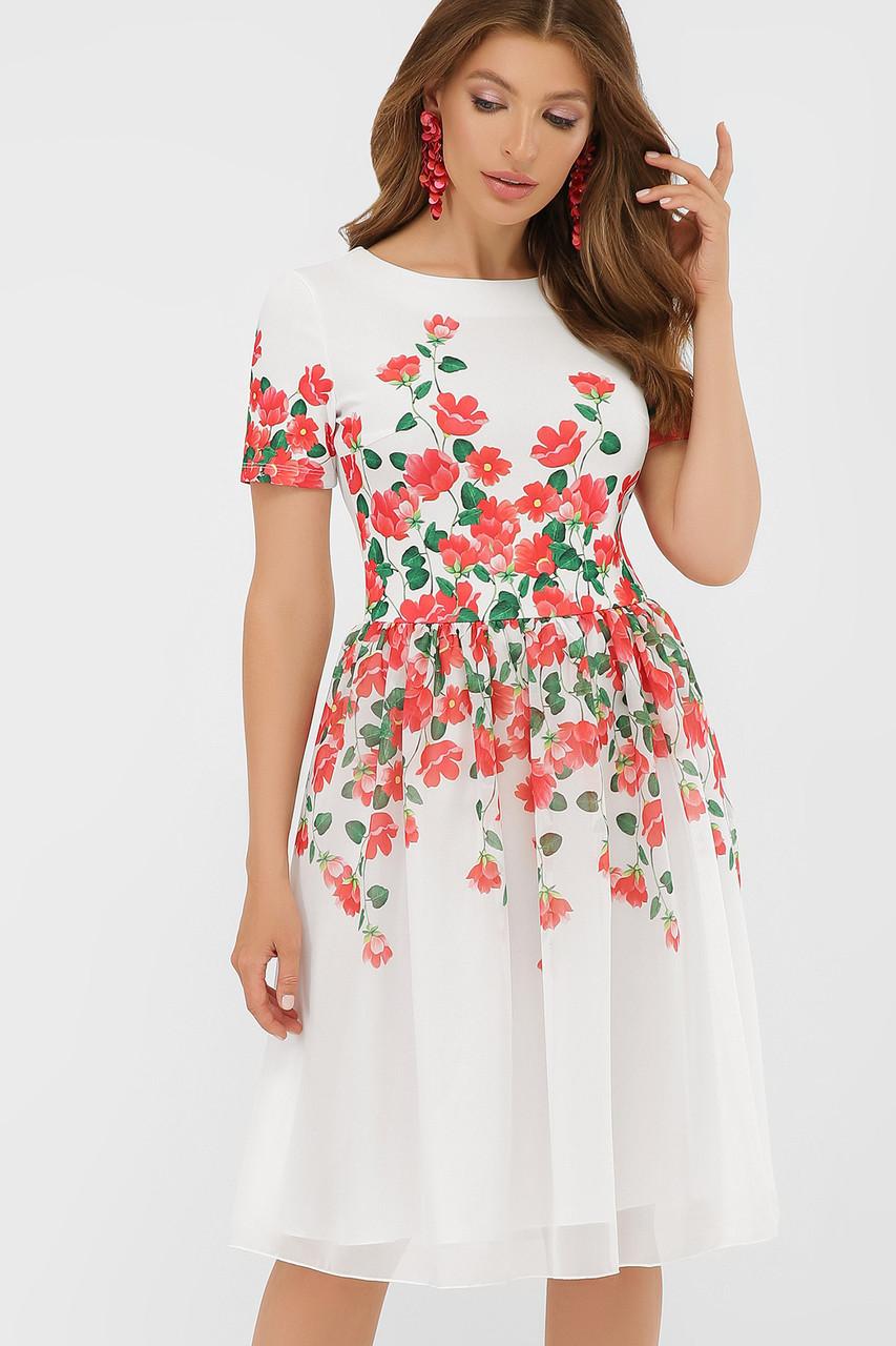 Красивое  платье с красными цветами Мияна-КД