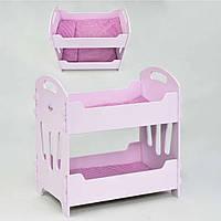 Детская Кровать деревянная двухэтажная для куклы (Baby Born)