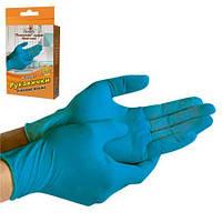 Перчатки хозяйственные латексные (синие) 10шт/уп код HG код MU02847