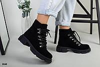 Ботинки женские черные из натуральной замши, фото 1