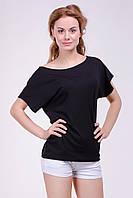 """Модная женская футболка """"Хулиганка"""",  однотон Черный, фото 1"""