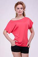 """Модная женская футболка """"Хулиганка"""",  однотон коралл , фото 1"""