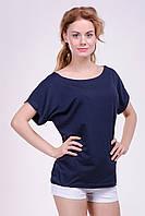"""Модная женская футболка """"Хулиганка"""",  однотон синий, фото 1"""