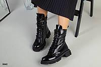 Ботинки женские черные из натуральной лаковой кожи, фото 1