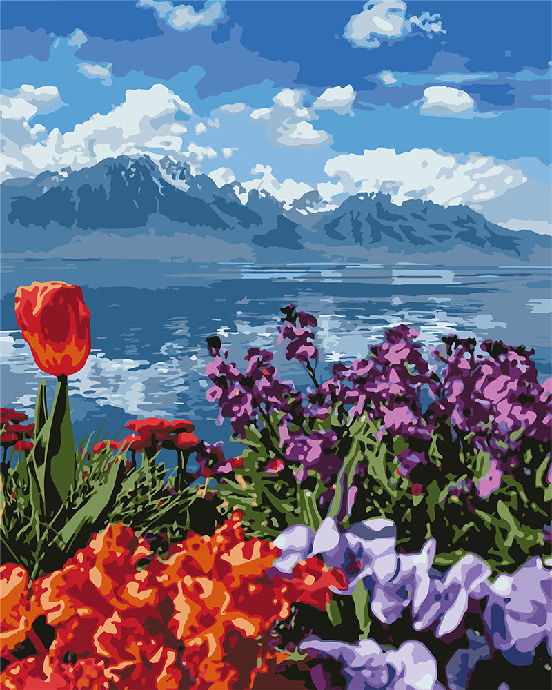 Картина за номерами Ідейка Квіти і гори 40*50 см арт.KH2278