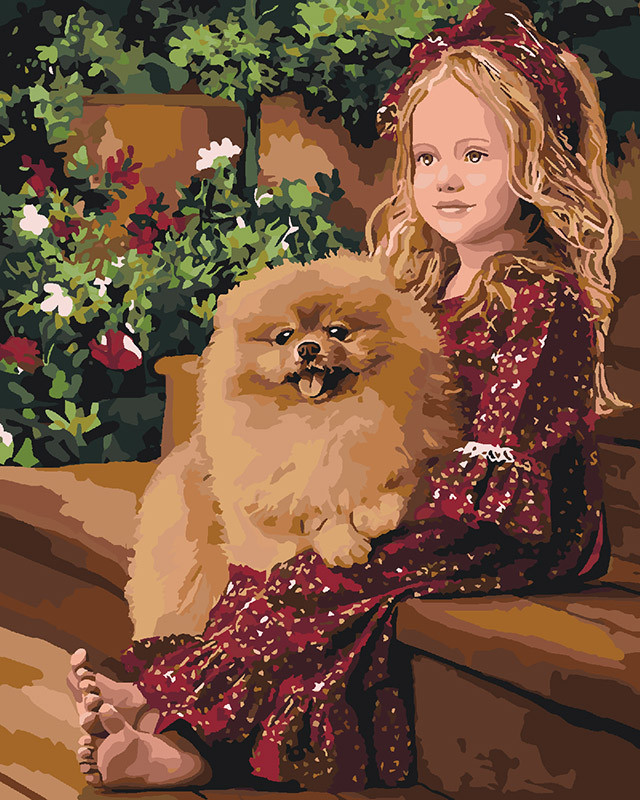 Картина за номерами Ідейка Дівчинка і шпіц 40*50 см арт.KH2329