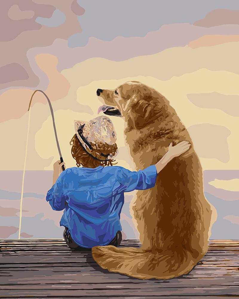 Картина за номерами Ідейка Рибалка з одним 40*50 см арт.KH2341