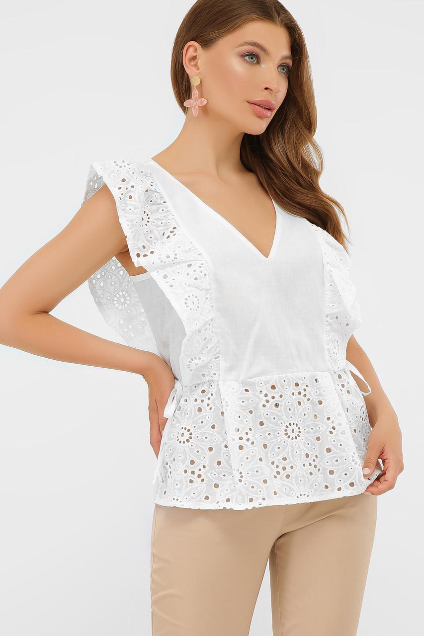 Летняя хлопковая блуза в белом цвете Илари