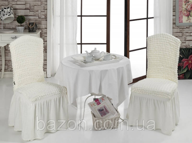 Чохол на стілець зі спідницею Кремовий Home Collection Evibu Туреччина 50129