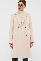 Классическое женское пальто осенее-весенее в светло-бежевом цвете П-394-95