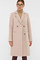 Классическое женское пальто осенее-весенее в пудровом цвете П-394-95