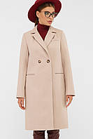 Классическое женское пальто осенее-весенее в бежевом цвете П-394-95
