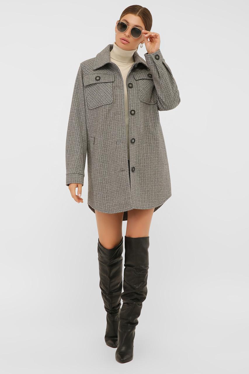 Женское демисезонное пальто в форме рубашки темно-серое П-409-85