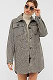 Женское демисезонное пальто в форме рубашки темно-серое П-409-85, фото 3