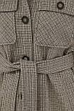 Женское демисезонное пальто в форме рубашки темно-серое П-409-85, фото 6