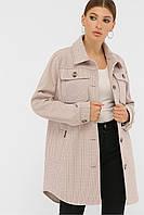 Женское демисезонное пальто в форме рубашки пудровое П-409-85