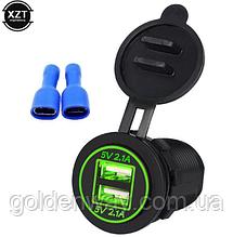 Автомобильное зарядное гнездо врезная розетка круглая 2 USB (12-24В) 5В/4.2A зеленая подсветка
