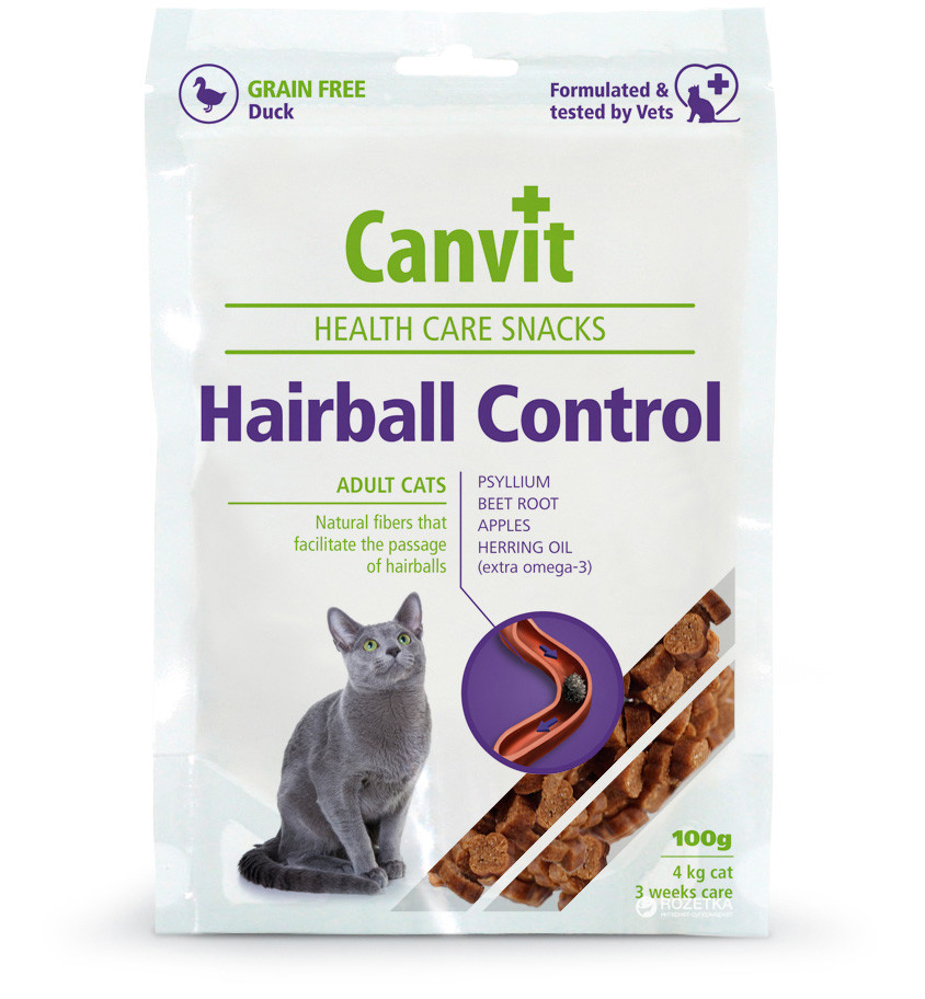 ХЕЙРБОЛЛ КОНТРОЛ CANVIT HAIRBALL CONTROL напіввологе функціональне ласощі для кішок, 100 гр